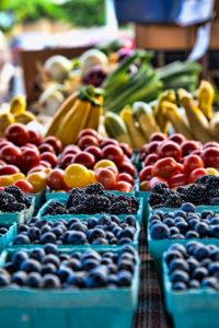 blackberries and fruit at the farmers market