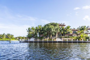 Fort Lauderdale, USA - August 20, 2014: Luxurious waterfront home in Fort Lauderdale, USA. There are 165 miles of waterways within the city limits and 9,8 percent of the city is covered by water.